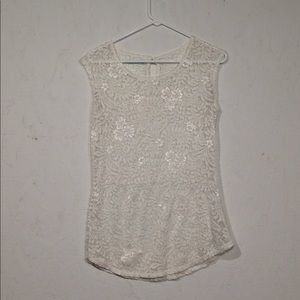 Maurices | Sheer Lace Top Blouse Medium Ivory